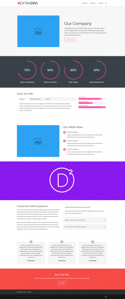 esempio layout divi