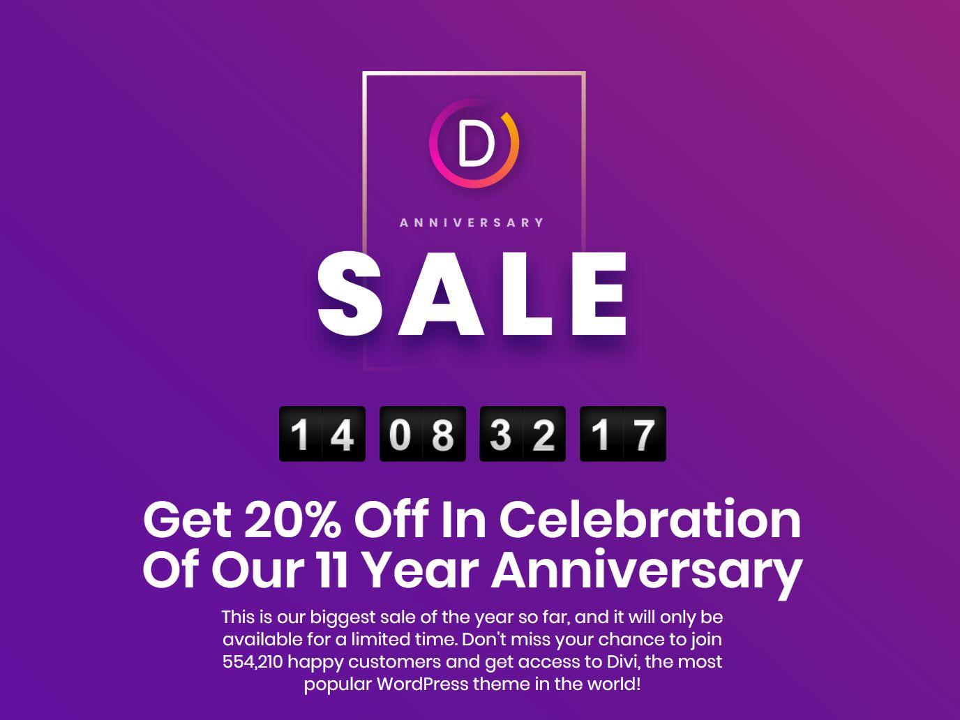 Elegant Themes Anniversary: sconto 20%